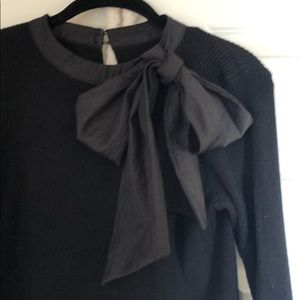 Chic wish black bow tie shirt L